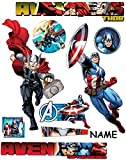Unbekannt 9 TLG. Set _ XL Wandtattoo / Sticker _  Avengers / Thor & Captain America  - incl. Name - Wandsticker - Aufkleber für Kinderzimmer - selbstklebend + wiederv..