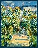 Bild mit Rahmen Claude Monet - Der Garten des Knstlers in Vtheuil - Digitaldruck - Holz blau, 90 x 112.5cm - Premiumqualität - Impressionismus, Garten, Gartenweg, Sonnenblumen, Kind, Haus des Künstlers, .. - MADE IN GERMANY - ART-GALERIE-SHOPde