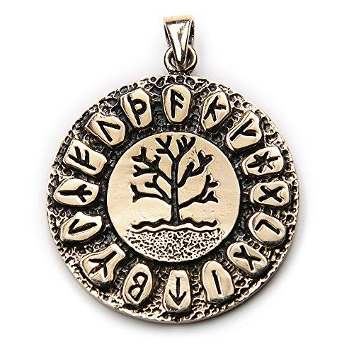Drachensilber Runen Lebensbaum Bronze Schmuck Anhänger Länge mit Öse: 4cm, Ø 3cm, inkl. Band