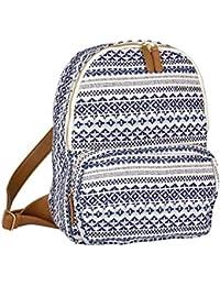 """SIX """"Trend"""" großer Rucksack aus Canvas Stoff Reissverschlusstasche Damen Handtasche blau-weißen Ethno Muster braune Kunstleder Riemen (463-167)"""