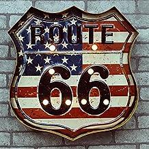 renrand ruta 66LED Metal con el Old Glory Luz de Neón abierto Signs Retro Bar Club Cafe decoración de pared funciona con pilas.