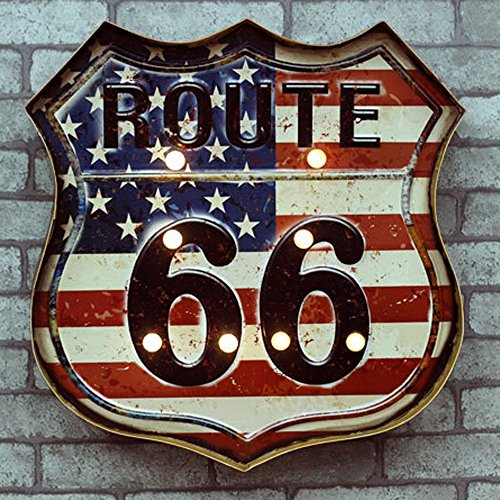 renrand Route 66 LED Metall mit der Old Glory Neon Light öffnen Schilder Retro Bar Club Cafe Wand Art Decor batteriebetrieben. (Metall-schilder Der Route 66)