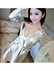 XW-atxsPijamas de Seda seda bata de seda manga mujeres camisón Sling dos traje de mobiliario para el hogar.,XL,Champagne