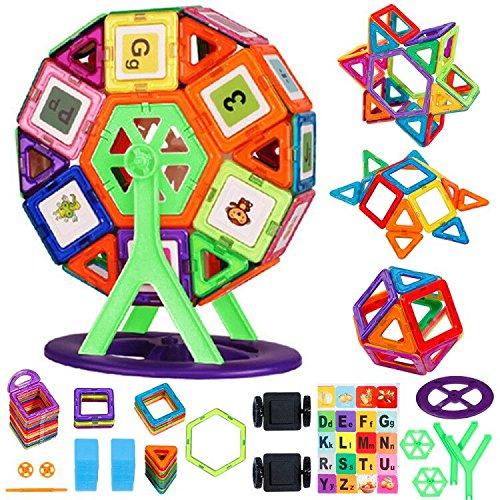 Faburo 108tlg Magnetische Bausteine Set,Magnetisch Bauklötze Regenbogen Konstruktionsbausteine Pädagogische Spielzeug und Kreatives Geschenk für Kinder