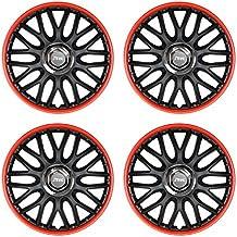 """Llantas de ruedas 4PC Bicolor: Negro y Rojo orden, 16""""16pulgadas"""