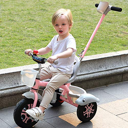 GSDZSY - Kids Tricycle Trike 2 In1, With Removable Adjustable Push Handle Bar,EVA Soft Wheel,Seat Can Be Adjusted, Folding Footrest, 2-6 Years,D  GSDZSY