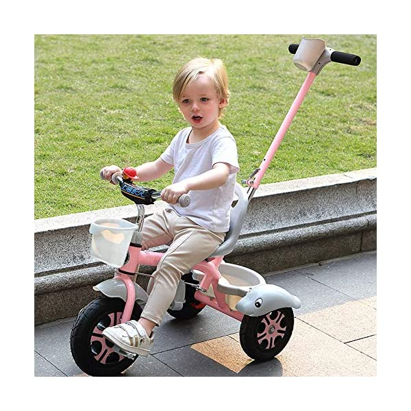 GSDZSY - Kids Tricycle Trike 2 In1, With Removable Adjustable Push Handle Bar,EVA Soft Wheel,Seat Can Be Adjusted, Folding Footrest, 2-6 Years,D GSDZSY  2