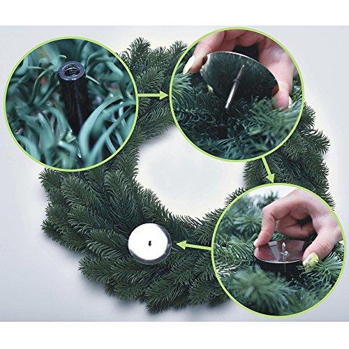 Corona de adviento de Ø 45 cm difícilmente inflamable (certificado B1) - Corona de navidad de polietileno con 4 velas LED hechas de cera natural incluidas
