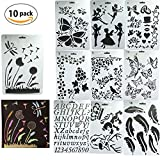 Zeichenschablonen,Dancepandas 10 Stück Kunststoff Zeichnung Skala Vorlage Sets für Kinder lernen Reisen Geschenk Schablonen und DIY Craft Projekte,10.2 * 7.1Zoll (26X18cm