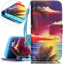 Funda para iPhone 5C, Case Cover para iPhone 5C, ISAKEN Elegante Pintura Patrón Cartera Fundas de PU Cuero Flip Standing Leather Wallet Case Cover Carcasa Funda con Portátil Correa Ranura de Tarjeta Cierre Magnético y función de soporte para Apple iPhone 5C (Amanecer Mar)