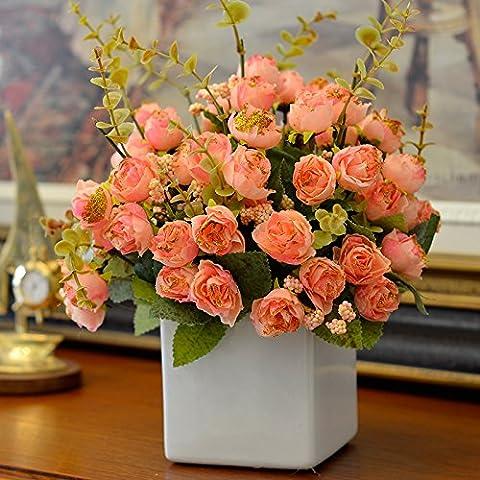 Lx.AZ.Kx European-Style Soggiorno Rose Fiori di Seta Fiore di emulazione Kit scaffale Fiori artificiali piccoli vasi di tabella di ornamenti floreali vasi di ceramica,il toner+Bianco vasi di fiori