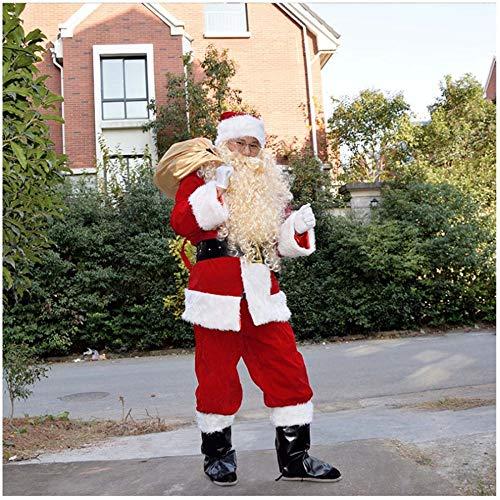 SPFAZJ Santa Anzug Kostüm Santa Kostüm hochwertige Beflockung Santa Kostüm Set Halloween Kostüm Erwachsene weihnachtskostüm (Santa's Elf Kostüm Hunde)