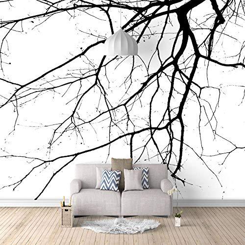 Seide Fototapete Aufkleber Schwarze Zweige 3D Wandbild für Schlafzimmer Wohnzimmer Küchen Wandkunst Dekoration Poster 140x100cm -
