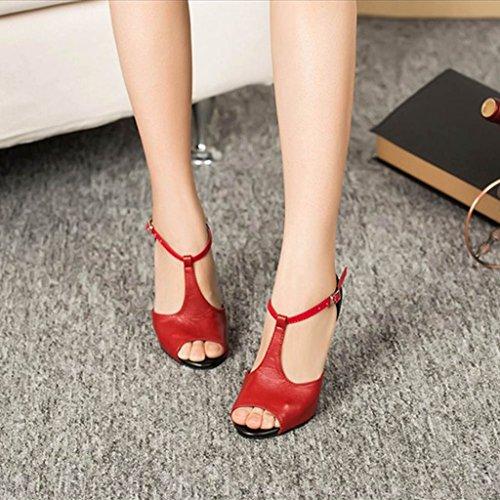 Meijili - Scarpe con plateau donna Rosso/Nero