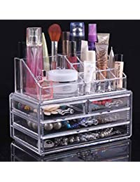 Diswa Clear Acrylic Cosmetic Organizer Storage Make Up Jewelry Case Lipstick Liner Brush Holder Box With 2 Layer Drawer