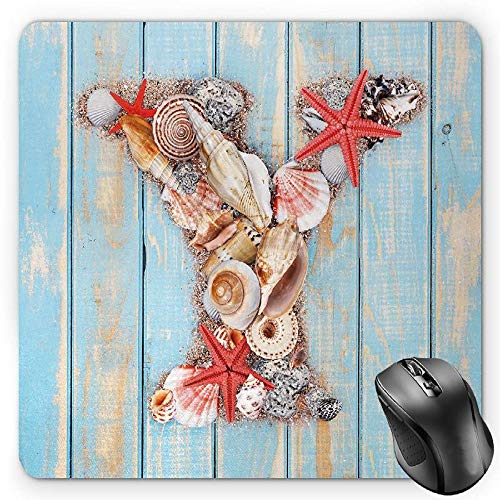 BGLKCS Letter Y Mauspads Mouse Pad, Aquatic Typography with Y Blue Vertical Planks Starfishes Scallops, Standard Size Rectangle Non-Slip Rubber Mousepad, Pale Blue Ivory Dark Coral Ivory Scallop