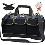 AIRAJ 42×23×29cm,Sac à outils à large ouverture Grand sac de rangement en toile avec base moulée étanche en ABS, sac d'électr