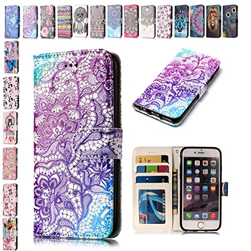 Funda iPhone 7 Plus 8 Plus Púrpura Henna de encaje, E-Mandala Funda Apple iPhone 7 Plus 8 Plus Carcasa con Tapa Libro 360 Grados PU Leather Con TPU Silicona Bumper Case Completa Protectora Folio 3D Tarjetero Flip Leather Case Wallet Cover