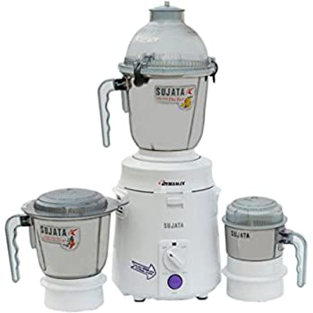 Sujata DynaMix DX 900-Watt Mixer Grinder with 3 Jars (White)