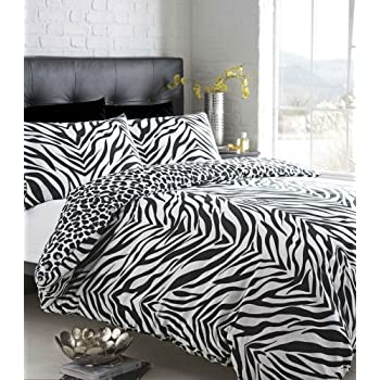 Single size black white zebra print with leopard reverse duvet quilt cover bed