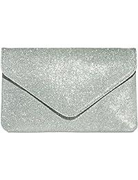 CASPAR TA357 große elegante Damen Glitzer Envelope Clutch Tasche/Abendtasche