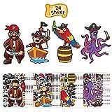 ZERHOK Sticker DIY Pirate,24 Feuilles coloriage Autocollants Un Projet d'artisanat Amusant,Mignon Coloré Autocollant Pirate Cadeaux de fête d'anniversaire Chasse au trésor mystère...