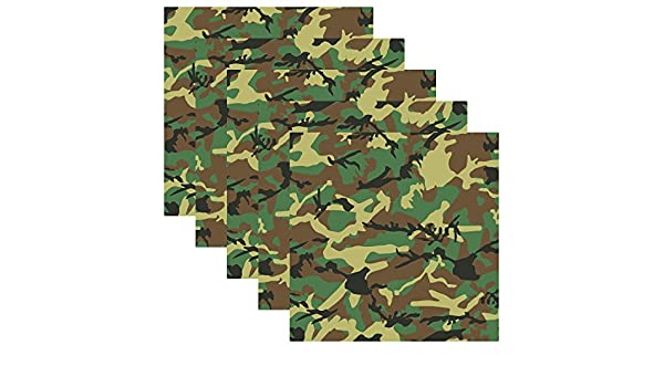 Pack of 5 Army Green Camouflage Self Adhesive Assorted Vinyl Sheets 12 x 12 Military Camo Permanent Adhesive Backed Vinyl for Cricut Silhouette Cameo Plotters Decals and Other Craft Cutters
