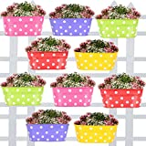 #8: TrustBasket Dotted Oval Railing Planters (Magenta, Purple, Green, Red, Yellow) - Set of 10