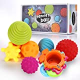 OleOletOy Sensory Balls for Baby- Great Variety In Texture and Color - Kids Rainbow Bath Toys- 6 Colorful Soft and…