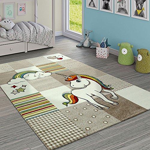 Paco Home Alfombra Infantil Habitación Cuadros Unicornio