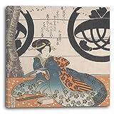 Yashima Gakutei - Frau sitzt unter einem Kirschbaum um ein Gedicht auf ein Blatt Papier zum Schreiben von Gedichten (Tanzaku) zu schreiben (19th century), 60 x 60 cm (weitere Größen verfügbar), Leinwand auf Keilrahmen gespannt und fertig zum Aufhängen, hochwertiger Kunstdruck aus deutscher Produktion
