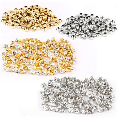 200 Stück Strassnieten Crystal Nieten Silber Gold Ziernieten Schmucknieten 7mm Surepromise Gothic Punk Metall DIY Rivets (100x Silber+100x Gold, 7mm) -