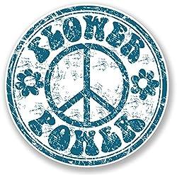 2x Peace Símbolo etiqueta auto hippie Laptop adhesivo VW Camper Flower hippie # 6779
