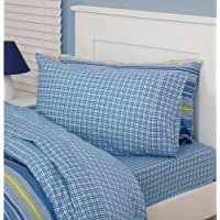 Just Kidding! Cheeky Check Blue Checked Double Fitted Sheet Pillow Case Bedding Set