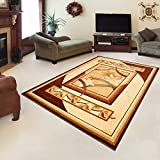 "Rug ROYAL Cream Modern Design Best Price High Quality Living Room S - XXL Mosaic Flowers Pattern 110 x 265 cm (3ft8"" x 8ft9"")"