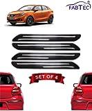 Fabtec Rubber Car Bumper Protector Guard with Chrome Strip for Maruti Baleno (Set of 4) Black (Design-Double Chrome)