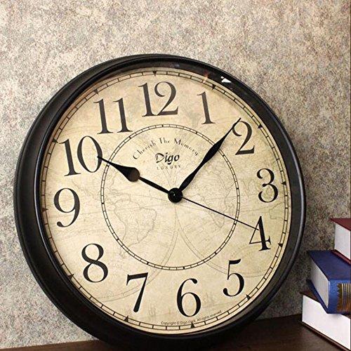 9, YIWANGO Wanduhr Im Europäischen Stil Wohnzimmer Retro Wanddiagramme  Kreative Stummes Schlafzimmer Uhren Einfache Digitale Uhr