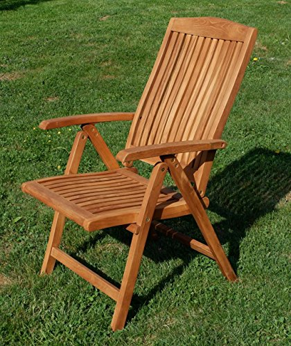 ASS TEAK Design Hochlehner Gartensessel Gartenstuhl Sessel Holzsessel Klappsessel Gartenmöbel Holz sehr robust 7fach-verstellbar Modell: JAV-TOBAGO-2018 von