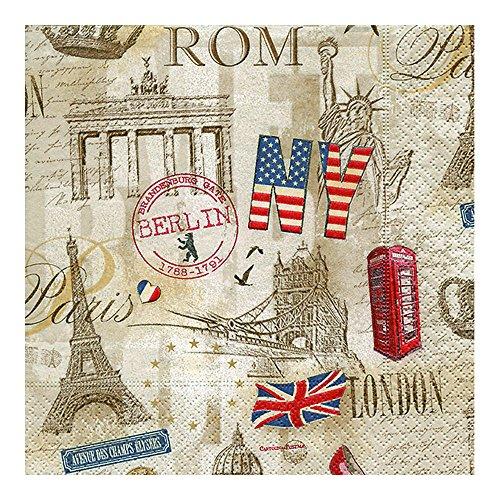 Luxury Vintage-Decorativa de servilletas de papel Vajilla decoupage CRAFT-ocasión para fiesta Capitales todo N26