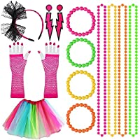 Kulannder 80s Fancy Dress Costume Accessories for Women and Girls, Retro Women Dresses Party with Neon Rainbow Dress Glove Neon Bracelets Necklaces Lace Bow Headband for 1980s Party (6 Pack)