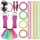 80s Costume Da Ragazza e Vestito Da Ragazza Accessori, Retro Party Con Abito Color Arcobaleno Collane Al Neon Cerchi Di Pizzo Guanti Di Perline Con Cerchi Di Maglia Collana 1980 Costume (6 Pezzi)