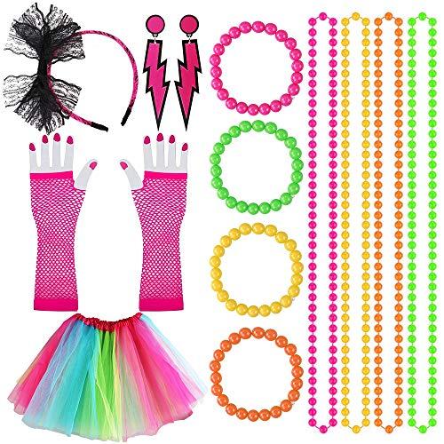 Kulannder 80er Party Kleid Zubehör,Mottoparty kostüm Damen Regenbogen Tutu Rock Damen Neon Halsketten Fishnet Pink Handschuhe Mehrfarbig Perlenkette für 1980 Party kostüm Damen Set (14 Stück)