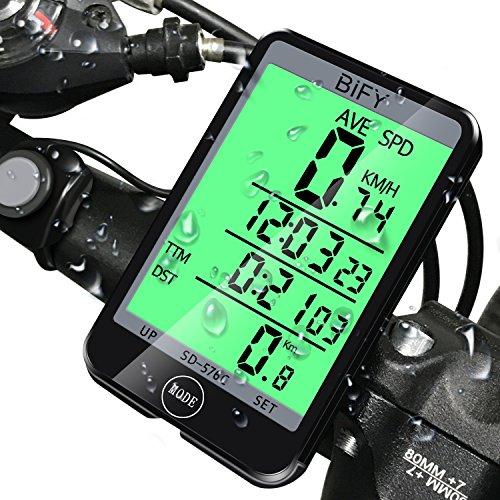 BIFY Fahrradcomputer Tachometer 20 Funktion Großbildschirm Touch Lichtsteuerung LED Hintergrundbeleuchtung Fahrrad Meter Kilometerzähler