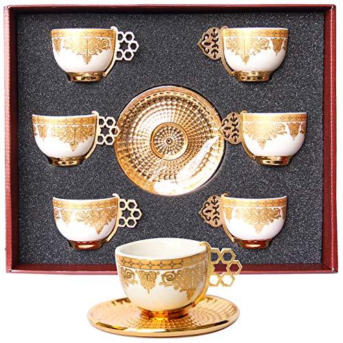 Alisveristime 12 Stück türkisches, griechisches, arabisches Kaffee-Espressotassen Untertassen Porzellan Set (Goldfarben)