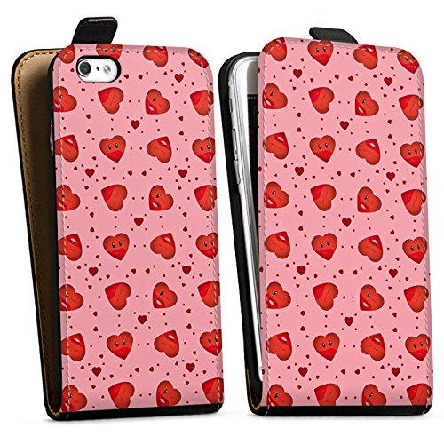 Apple iPhone X Silikon Hülle Case Schutzhülle Valentinstag Pink Herzen Downflip Tasche schwarz