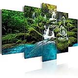 murando - Bilder 200x100 cm Vlies Leinwandbild 5 TLG Kunstdruck modern Wandbilder XXL Wanddekoration Design Wand Bild - Buddha Natur Landschaft Wasserfall c-C-0019-b-n