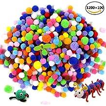 JUSLIN 1200 Piezas 1cm 100Piezas 1.5cm Pompones Surtidos Para DIY Manualidad Creativa y Decoraciones, Colores Surtidos