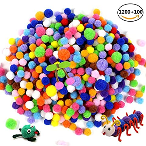 JUSLIN 1200 Pcs 0.4 inch 100 Pcs 0.6 inch Craft Pom for DIY Creative Crafts Decorations and Hobby Supplies,Assorted