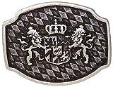 Fronhofer Trachten Gürtelschnalle Bayern altsilber Buckle 40 mm, 4 cm Bayerisches Wappen Löwen Silber Schnalle,18209, Farbe:Silber, Größe:One Size