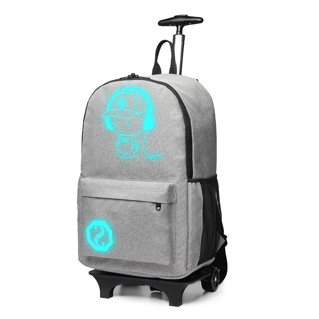 Kono Mochila Funcional con Ruedas para portátil,Impermeable Luminous Music Boy Viaje de Negocios Rueda rodante Trolley Mochila,Bolso Aprobado de la Cabina